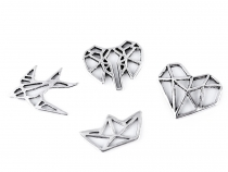 Metal Charm / Spacer Origami Swallow, Boat, Heart, Elephant